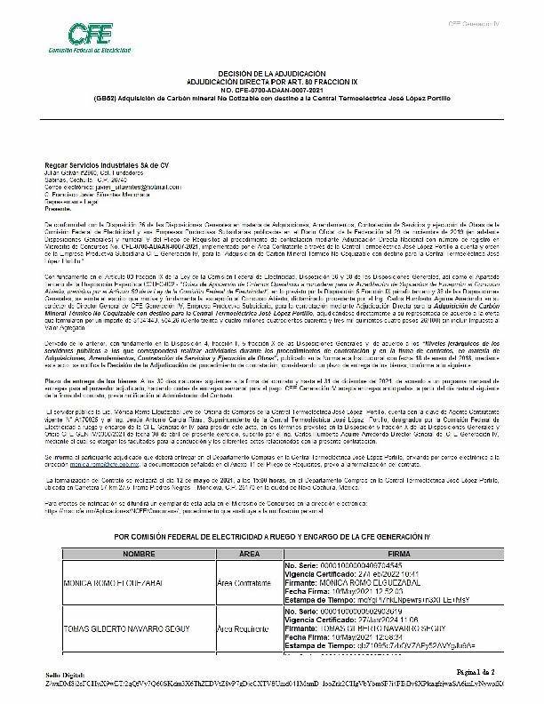 La empresa RegCar Servicios Industriales recibió adjudicación directa de un contrato por más de 134 millones de pesos.